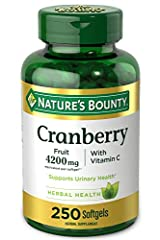 CRANBERRY CONCENTRATE PILLS: Made from the finest cranberry concentrate available, Nature's Bounty Cranberry with Vitamin C softgel capsules each contain the equivalence to 4, 200 mg of fresh cranberries, as well as 40 mg Vitamin C & 2.7 mg Vitamin E...