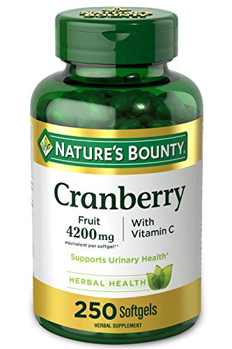 Cranberry Pills w/ Vitamin C by Nature's Bounty, Supports Urinary & Immune Health, 4200mg Cranberry...