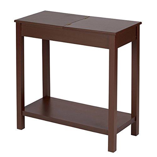 TRI Beistelltisch, Tisch mit klappbarer Tischplatte  Couchtisch Sesseltisch Sofatisch Wohnzimmertisch, Tisch mit Stauraum, Kolonialstil, 62 x 28 x 59 cm