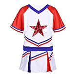 vastwit Kids Girls School Uniform Outfit Cheerleading Costume Halloween Cosplay T-Shirt with Skirt Set White & Red 14-16