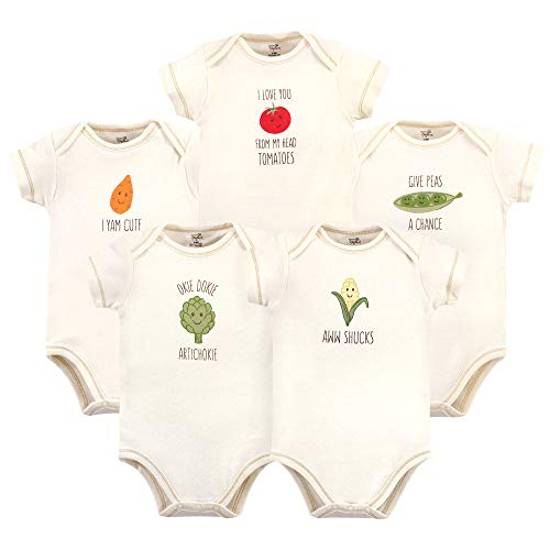Touched by Nature Baby Organic Cotton Bodysuits, CORN, 3-6 Months