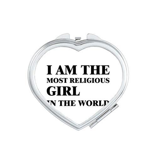 DIYthinker Je suis Le Maquillage Compact Religieux Fille Coeur Miroir Portable Mignon de Cadeau Miroirs de Poche à la Main Multicolor