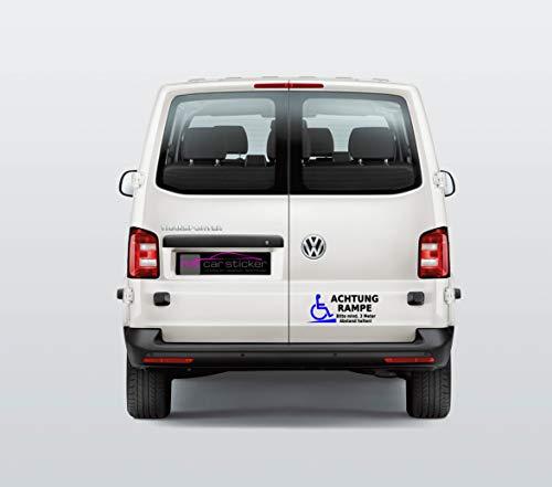 MS Car Sticker Achtung Rampe Bitte Mind. 3 Meter Abstand halten! Achtung Rollstuhlfahrer Aufkleber Konturgeschnitten (08 schwarz glänzend - Blau)