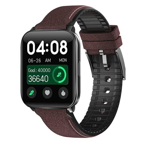 EFTTEL Smart Watch 1.69 Inch Body Temperature Men's Fitness Tracker Blood Pressure Blood Oxygen Clock Women's Waterproof Sports Smart Watch (Black Coffe)