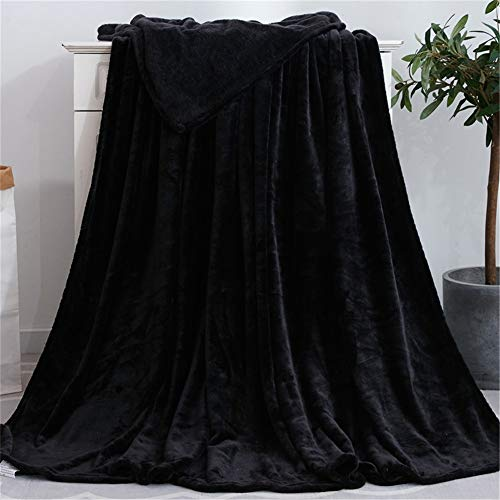 Plaid Couverture Peluche, Morbuy Super Douce Chaude Toison de Corail Chambre Canapé-Lit Literie Bébé Petite Couverture Drap de Lit Adulte Enfant (70x100cm,Noir)