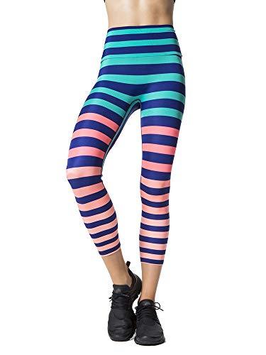 K-DEER Signature Stripe Activewear Leggings, Trina/Capri Length, X-Large