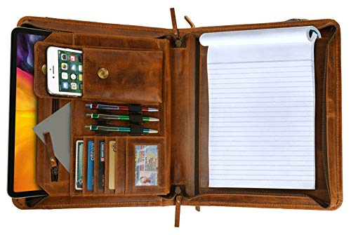 Top Grain Leather Portfolio Business Padfolio Document Organizer with Writing Pad Resume Interview Professional Zipper Writing Notepad Folder for Men Women