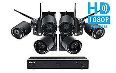 Lorex Wire-Free Cameras Security System 6 Channel DVR 6 HD Rechargeable Wire Free Black Metal Cameras(Ultra-Wide Lens, 150' Night Vision, 2-Way Audio Speaker-Mic)