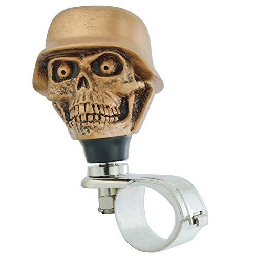 Lunsom Skull Soldier Wheel Control Power Grip Green Eyes Steering Spinner Driving Handle Booster Suicide Knob Car Turning Aid Helper Fit Most Auto Manual Vehicle (Bronze)