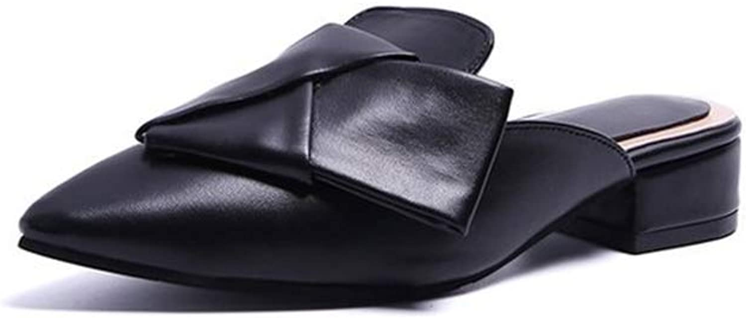 Brilliant sun Women's Leather Knotted Bow Mules Slip On Loafers