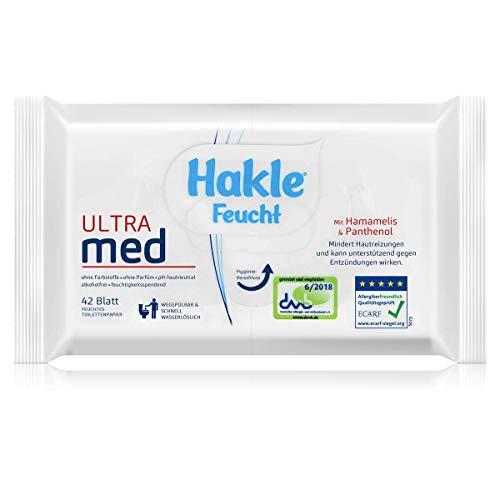 Hakle Feucht Ultra med 42 Blatt - Mit Hamamelis & Panthenol - Mindert Hautreizungen und kann unterstützend gegen Entzündungen wirken (1er Pack)