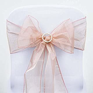 Efavormart 25pc x Wholesale Sheer Organza Chair Sashes Tie Bows for Chairs -Catering Wedding Decoration - Dusty Rose