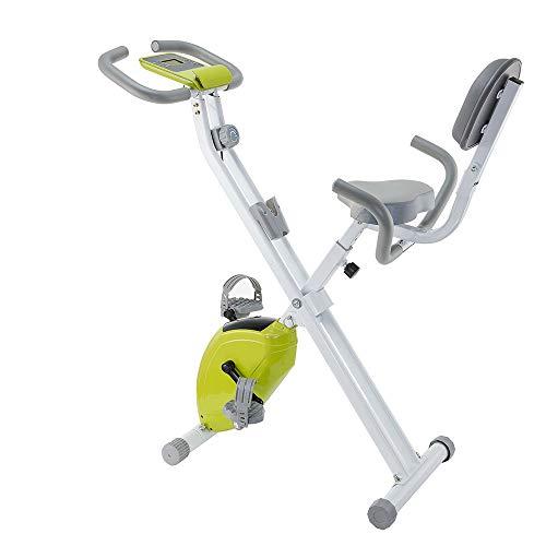 WMNRNYD Mini Spinning Cubierta de Bicicleta de Ejercicios con el Respaldo y el Monitor LCD, Plegable, Asiento Ajustable, para Cardio Entrenamiento y Entrenamiento de la Fuerza