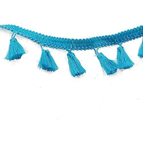 Yalulu 5 Meter Quastenborte Fransen Spitzenborte Borte mit Quasten Näharbeit für Kleidung DIY Fertigkeit Troddel Dekoration Gardinen Vorhang Deko (Blau)