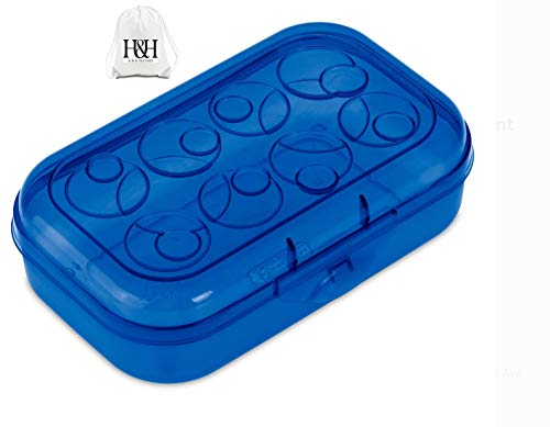 HHS Kids Boys Girls Teens Teachers Snap Latch Plastic Multi-Purpose Pencil Box Case Storage for School Supplies Cobalt-Blue Transparent Tint Lid (Bundle with HuSaao TM Item) - One (1) Box