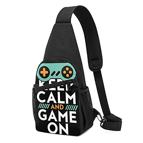 Keep Calm Game On Poster pour jeux vidéo Geek Sac à dos multi-poches Sac à dos bandoulière réglable pour femme homme