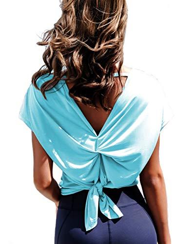 Women Drape Twist Back Yoga top Cross Open Back Active Clothes Cute tie Back...