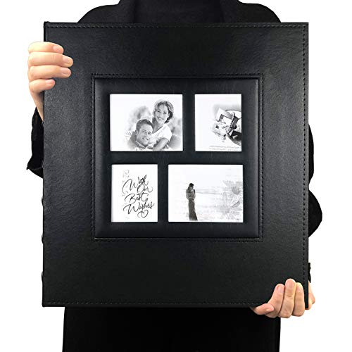 Photo Album Self Adhesive Magnetic DIY Scrapbook 60 Pages 13.3 x 13.4 (Inches) Accommodate 8X10 6X8 5X7 4X6 Photo Wedding Album Memory Book(Black)