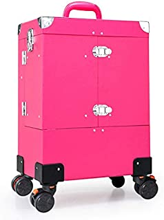 Nail Makeup Trolley Case, Large Capacity Cosmetic Box Case Luggage Rolling, Multi-Layer Beauty Salon Tattoo Trolley Suitcase,Pink