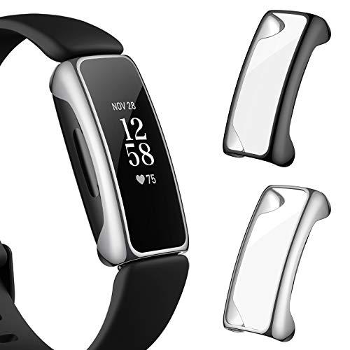CAVN [2-Stück] Hülle Kompatibel mit Fitbit Inspire 2 Schutzhülle Schutzfolie, (Nicht für Inspire/Inspire HR) Vollschutz Display Schutz Schutzhülle Full Coverage Stoßfestes Displayschutz Hülle