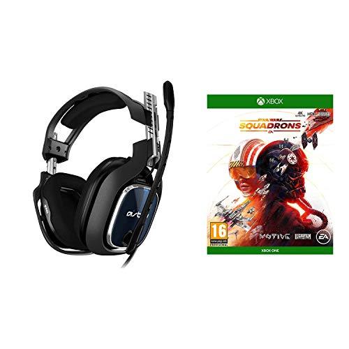 ASTRO Gaming A40 TR Auriculares alámbricos, 4ta Gen, Audio V2, Dolby Atmos para PC, Clavija 3.5mm, micrófono Intercambiable, Star Wars: Squadrons, Xbox One, Negro/Azul