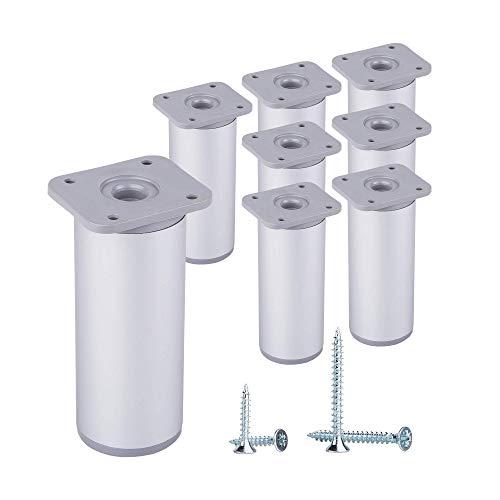 Gambe rotonde per mobili, regolabili in altezza, materiale: In plastica e alluminio, Viti incluse