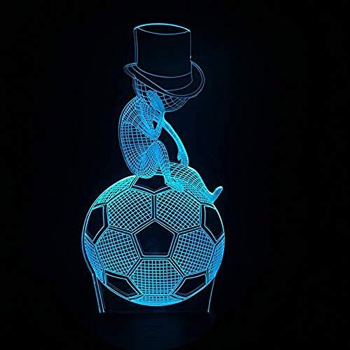 LWYFADS Lampe de Chevet,Night Light Sports 3D Lamp Globe Football Soccer House Decor Bulb Colourful LED Art Night Light Desk Lamp Lighting Funny Toy Bedroom Decor