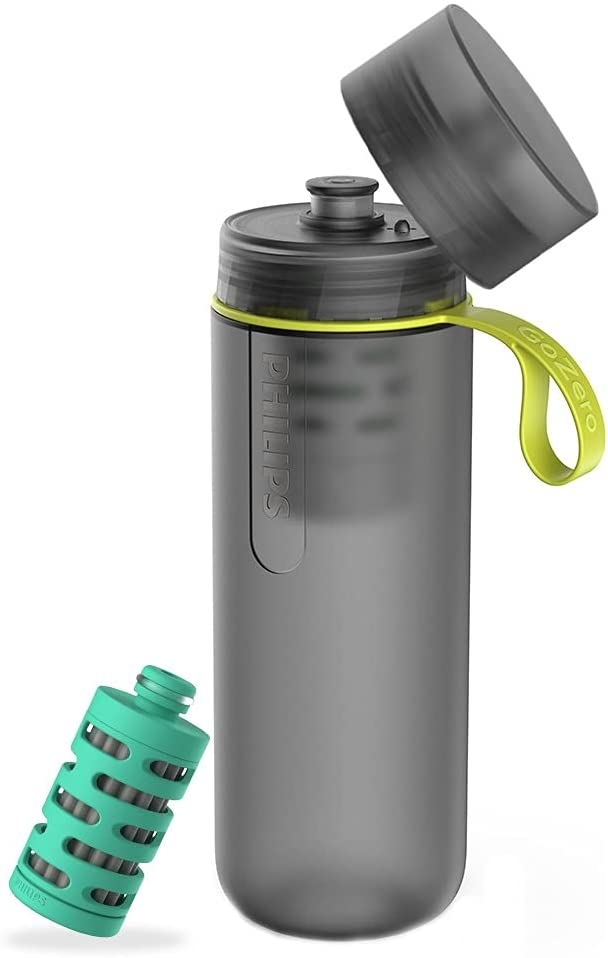 Philips GoZero Active Bottle, Squeeze Hydration Bottle, for Fresh Water Source Filtering