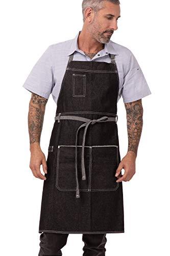 Chef Works Unisex Bronx Bib Apron, Black, One Size