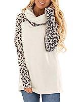 Blivener Women's Casual Sweatshirts Long Sleeve Leopard Print Tops Cowl Neck Raglan Shirts White L
