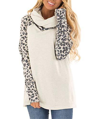 Blivener Women's Casual Sweatshirts Long Sleeve Leopard Print Tops Cowl Neck Raglan Shirts White M