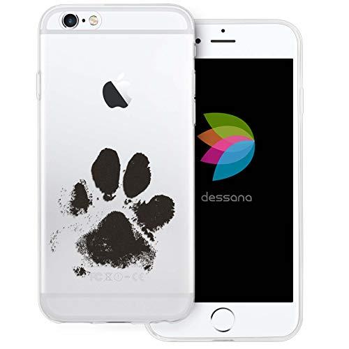 dessana Tier Pfoten Abdrücke durchsichtige Silikon TPU Schutzhülle 0,7mm dünne Handy Tasche Soft Hülle für Apple iPhone 6/6S H&e Tatze