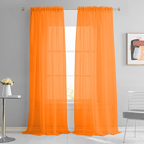 KEQIAOSUOCAI Curtains Orange Sheers Voile Window Panesl 95 Inches Long for Wedding Party Rod Pocket Draperies Sheer Sets for Living Room Bed Canopy 52Wx95L Orange