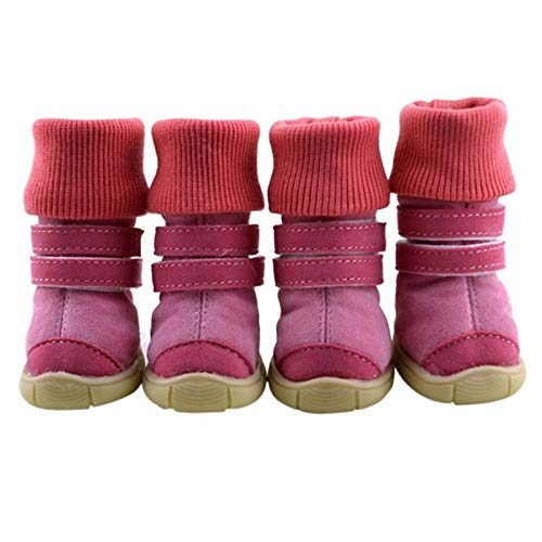 JIUYUE 4 STKS Huisdier Winter Animal Schoenen Anti-Slip Leer Zachte kasjmier Waterdichte Warme Laarzen, S, roze
