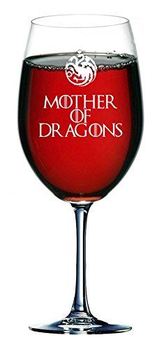 Madre de los dragones de la casa Stark de Juego de Tronos Inspired 750ml Copa de vino