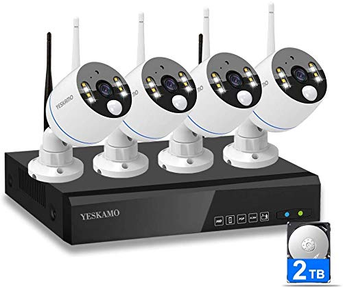 YESKAMO Funk Überwachungskamera Set Flutlicht Aussen WLAN mit 8CH 1080P WiFi Kameras 2TB Festplatte für Hausalarmanlagen mit Bewegungserkennung Zweiweg Sprechen & Audio Aufnahme