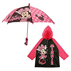 Playful design: 2-piece matching rainwear set includes rain slicker and matching umbrella featuring Disney's lovable character minnie mouse. Available in a choice of 2 fashionable colors: black or Pink. Child safety: designed especially for little ki...