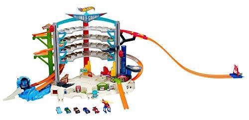 Hot Wheels CMP80 City Megacity Parkgarage, Auto Garage und Parkhaus mit Hai Stunt für 36 Fahrzeuge inkl. 5 Spielzeugautos, ca. 71 cm hoch, ab 5 Jahren