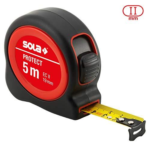 SOLA Bandmaß - PROTECT - 5m / 19mm - robustes Rollbandmaß mit Gürtelclip - Stahlband, gelb lackiert mit mm Skala - Genauigkeitsklasse II - Rollmeter mit beweglichem Endhaken - Länge 5m/19mm