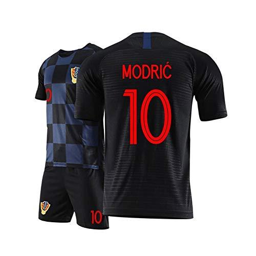 2020 Neue Saison Unisex Erwachsene Kinder Fußball Trikot Real Madrid Club De Fútbol Luka Modric # 10 Personalisierte Football Jersey T-Shirt Und Shorts Sportbekleidung Trainingskleidung,Schwarz,M