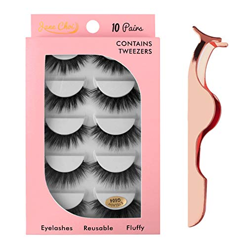 Falsche Wimpern, 10 Paar künstlicher Nerz Falsche Wimpern Lange dicke Wimpern für die Verlängerung, handgefertigte natürliche wiederverwendbare künstliche 3D-Wimpern mit Pinzette (G604)