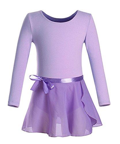 iMixCity Ragazza Leotard Manica Lunga Vestito Tutu Balletto Dancewear Body Ginnastica con Gonna Wrap Round (110 (3 4 T), Viola)