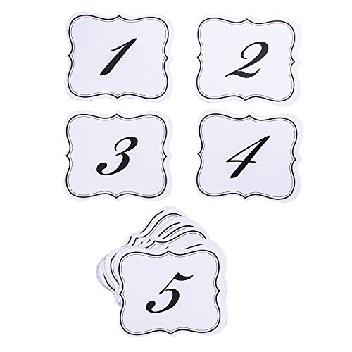 Numbers 1-25 Elegant Table Cards Wedding Reception Double Side Decorations