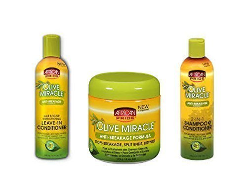 African Pride Olive Miracle Trio Set Of Hair Care Products (Shampoo, Leave-In, And Anti-Breakage) by African Pride Olive Miracle