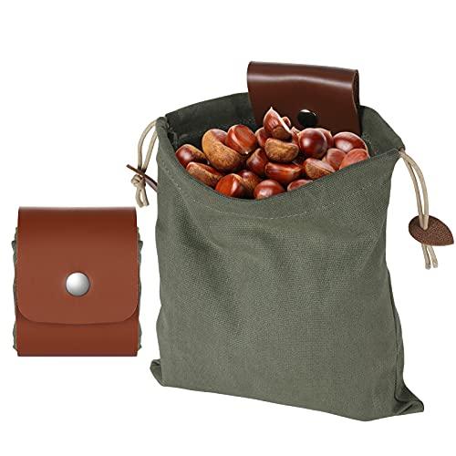 Borsa per il foraggio di funghi in tela (2021 nuovo), borsa tattica pieghevole per esterni, borsa da campeggio con tela cerata, per viaggi, escursionismo e zaino in spalla, Verde militare,