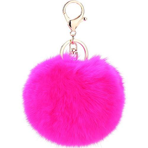 Schlüsselanhänger plüsch Ball Keychain Elegant Plüsch-Kugel Auto-Anhänger Taschenanhänger bommel Pompom Weich Schlüsselring Handtaschenanhänger Dekor (Rosa)