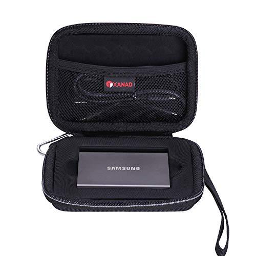 XANAD Hart Tasche Case für Samsung T7 / Samsung T7 Touch Tragbare SSD 1 TB / 2 TB / 500 GB Schwarz