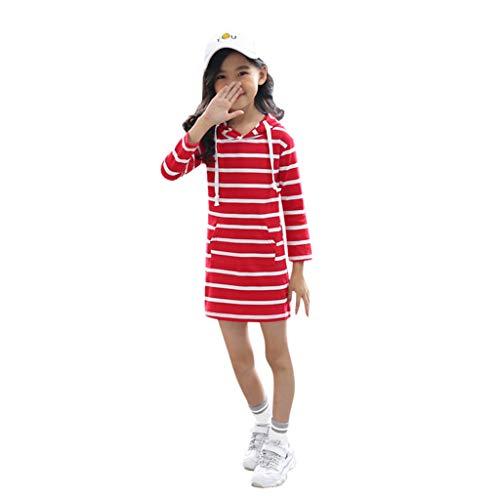 INLLADDY Kleid MäDchen Einfarbig Gestreiften LangäRmeligen Kapuzenpullover Rock Bleistiftrock Prinzessin Kleid LäSsig Strandparty Kleidung Rot Höhe:140cm
