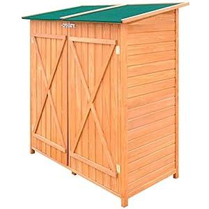 UnfadeMemory Caseta de Almacenamiento de Madera de Jardín con Taburete Alto,Cobertizo Exterior para Almacenar Herramientas,138x65,5x160cm