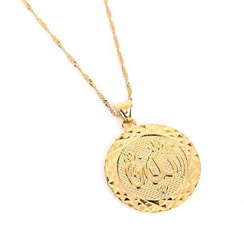 Platinum 24K New Islamic Allah Pendant Charms Choker Necklace Religious Muslim Jewelry (Gold Round Pendant)